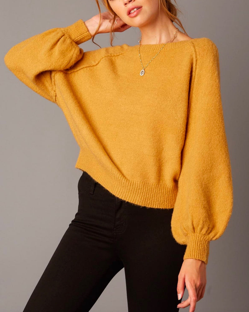 cotton candy la - bishop sleeves and ribbed hem fuzzy knit sweater - honey