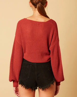 Cotton Candy LA - Bishop Sleeves Dropped Shoulder Wrap Cropped Shoulder in Rose