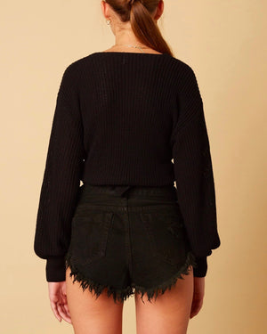 Cotton Candy LA - Bishop Sleeves Dropped Shoulder Wrap Cropped Sweater in Black