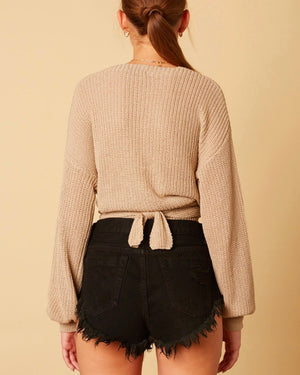 cotton candy la - bishop sleeves dropped shoulder wrap cropped sweater - stone