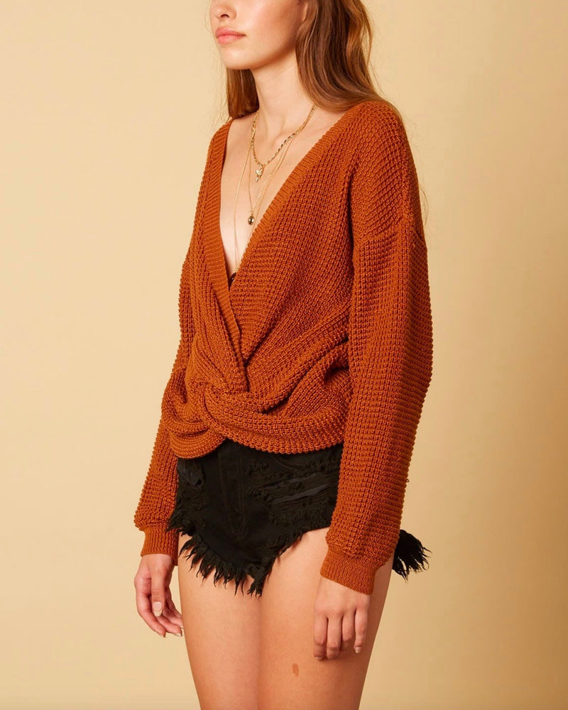 Cotton Candy LA - Plunging Twist Knot Front Sweater with Dropped Shoulders in Bronze