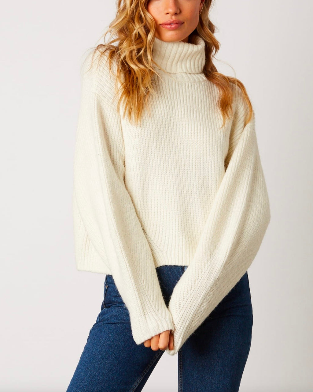 boxy turtle neck dropped shoulder sweater with balloon sleeves - ivory