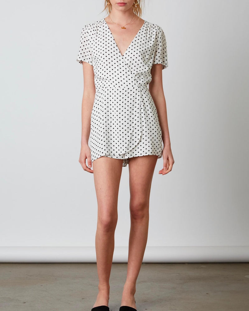 cotton candy la - shoreditch polka dot romper - white/black