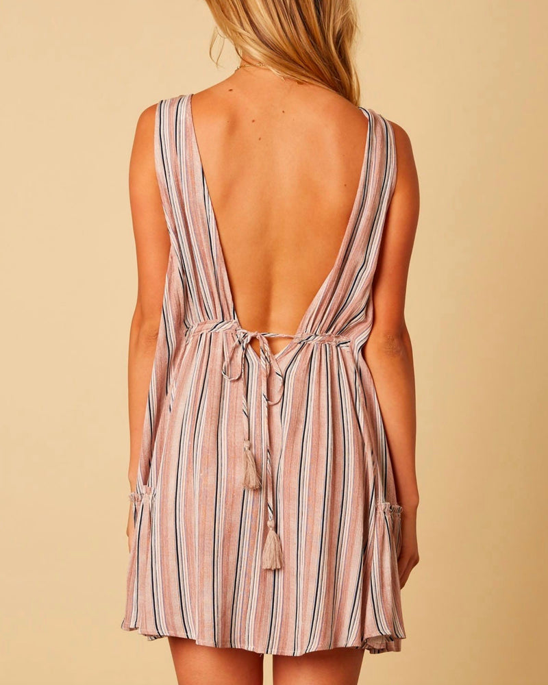 Cotton Candy LA - On The Stripe Mini Dress in Taupe