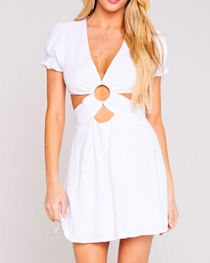 party starter gauze cut out skater mini dress in white