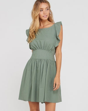 open bow back cotton fit and flare mini dress - olive