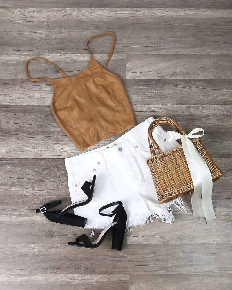 Cotton Candy LA - Suede Halter Crop Top in Tan
