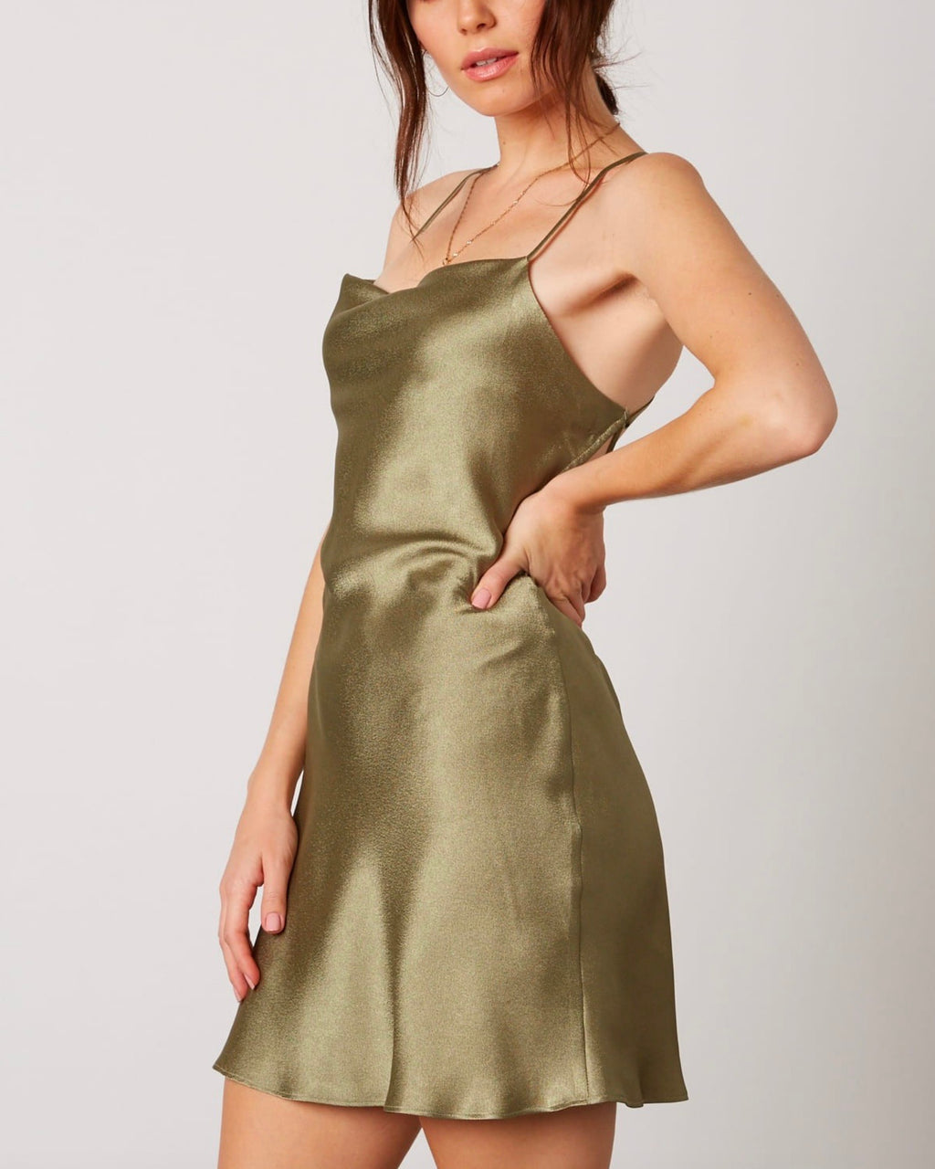 cowl neck satin mini dress with strappy low cut back - sage