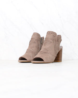 Topstitch Woven Peep Toe Boho Chic Stacked Chunky Heel Booties in Taupe