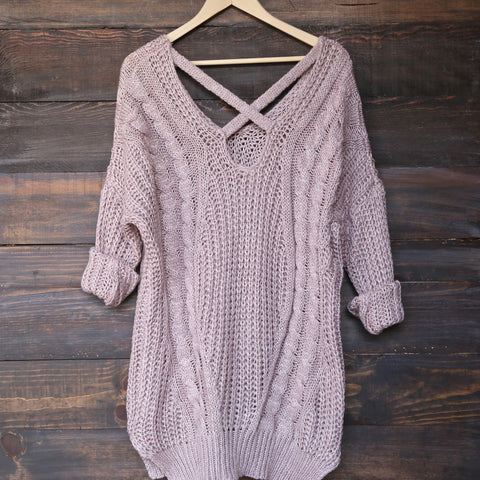 oversize cross back knit sweater - marle mauve - shophearts - 1
