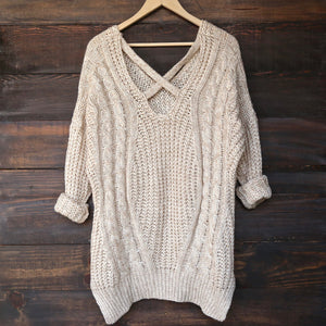 oversize cross back knit sweater - marle natural - shophearts - 1
