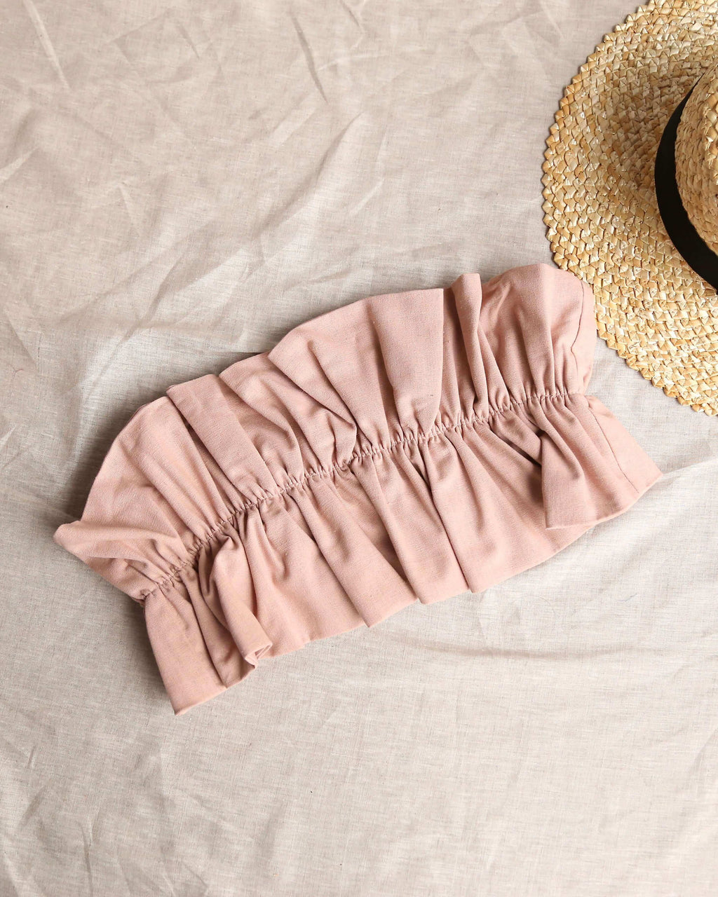 double take ruffled crop top in blush