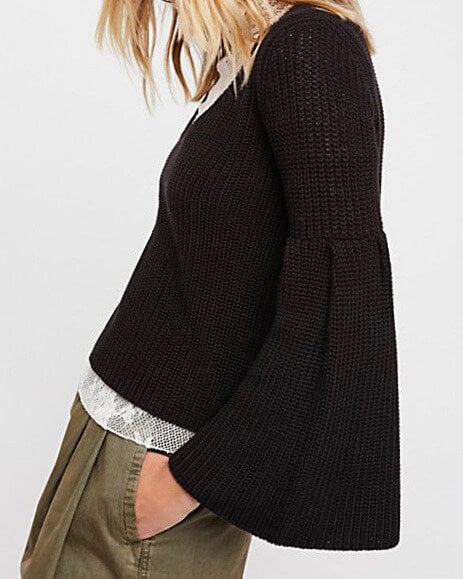 Free People - Damsel Cable Knit Pullover in Black