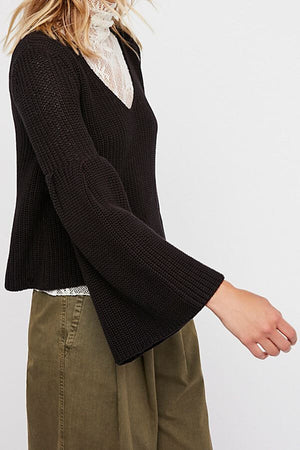 free people - damsel cable knit pullover - black