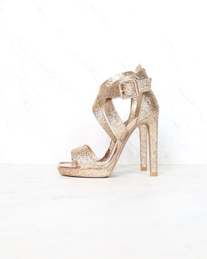 dancing in the rain strappy glitter high heels in rose gold