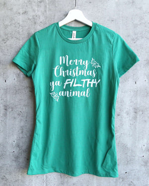 distracted - Merry Christmas ya FILTHY animal women's fitted graphic tee - Kelly Green