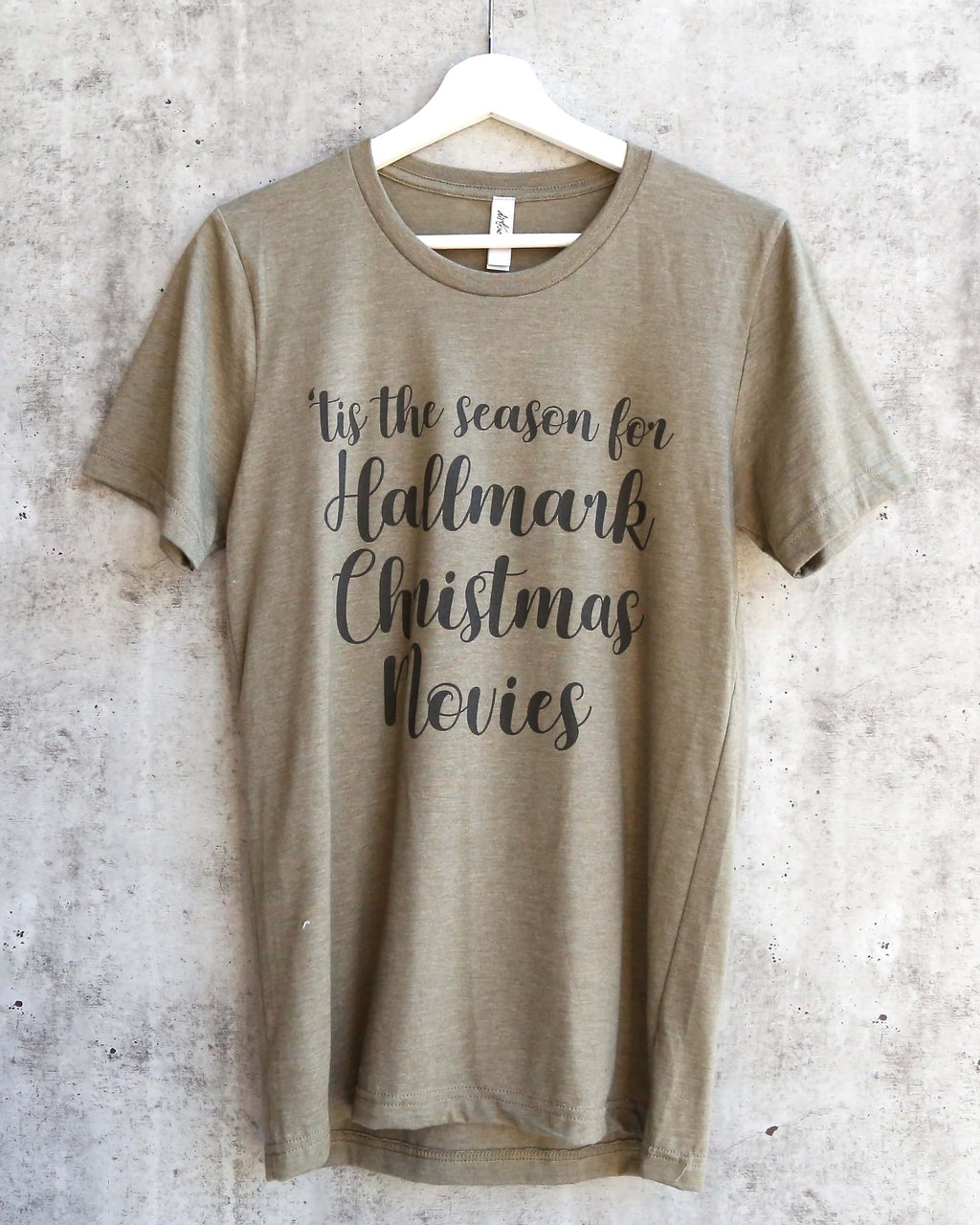 distracted - TIS The Season for Hallmark Christmas Movies Unisex Short Sleeves Graphic Tee - Heather olive