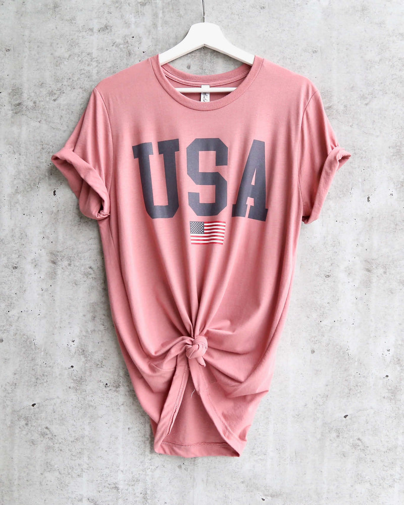 Distracted - USA Shirt Flag Graphic Tee in Mauve