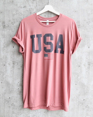 distracted - USA flag graphic tee - mauve