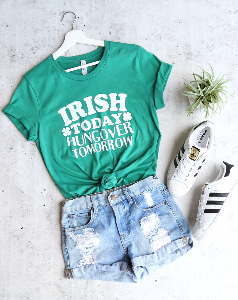 Distracted - Irish Today Hung Over Tomorrow Saint Patrick's Day Unisex Cotton T-Shirt in Kelly Green/White