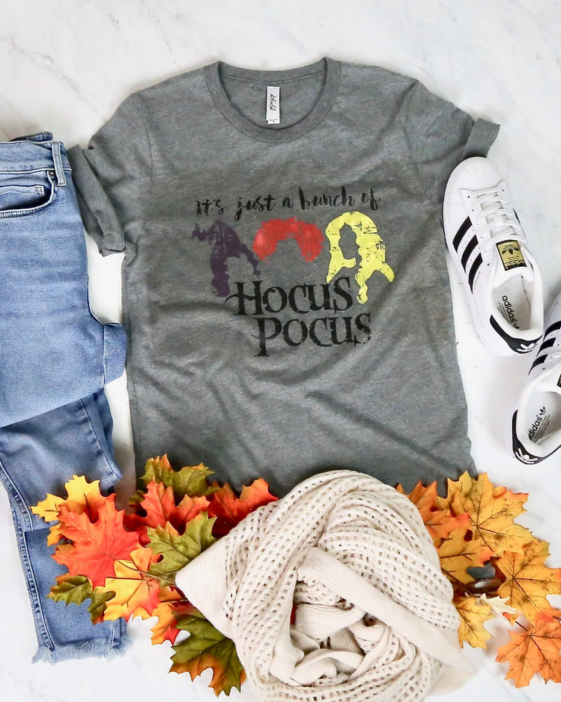 Distracted - It's Just a Bunch of Hocus Pocus Unisex Graphic Tee in Heather Grey