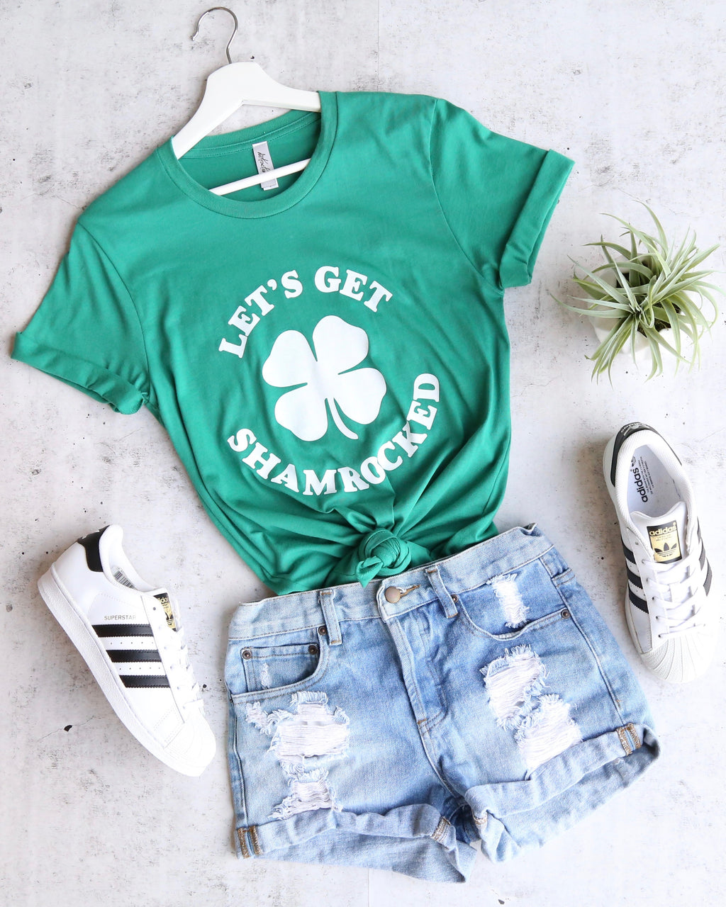 Distracted - Let's Get Shamrocked Saint Patrick's Day Unisex or Women's T-Shirt in Kelly Green