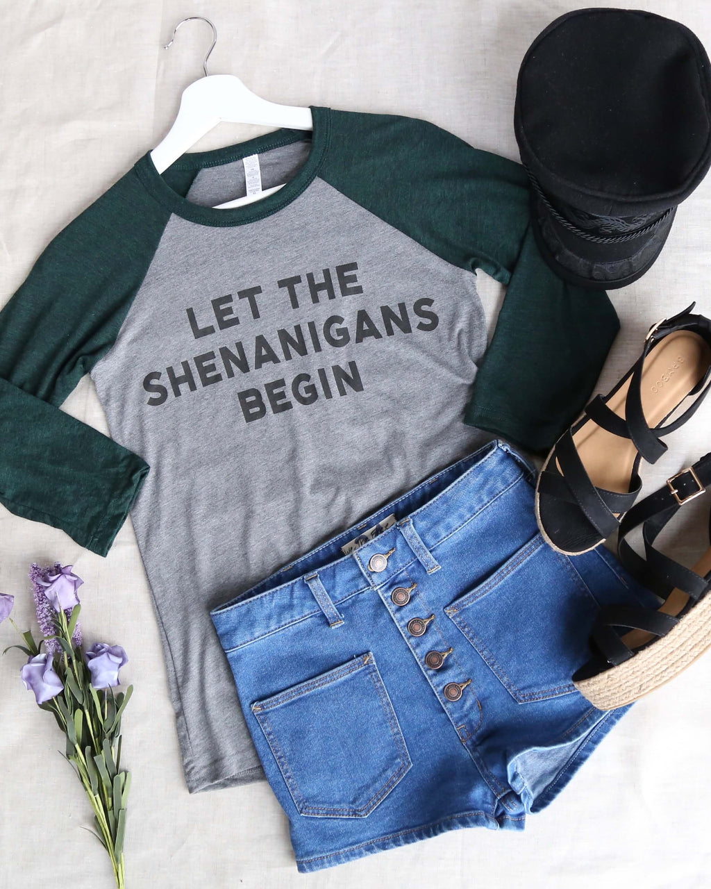 distracted - let the shenanigans begin - saint patrick's day Unisex 3/4 Sleeve Baseball Tee