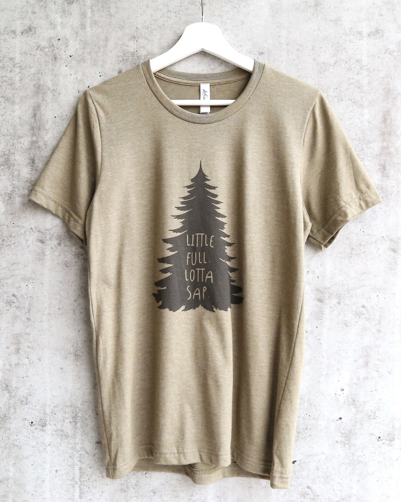 distracted - little full lotta sap unisex christmas tree tshirt - heather olive
