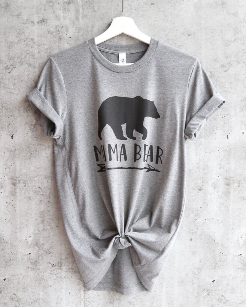 Distracted - Mama Bear Unisex T-Shirt in Heather Grey