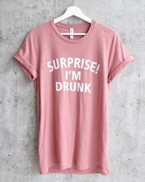 Distracted - Suprise! I'm Drunk Unisex T-Shirt in Mauve/White