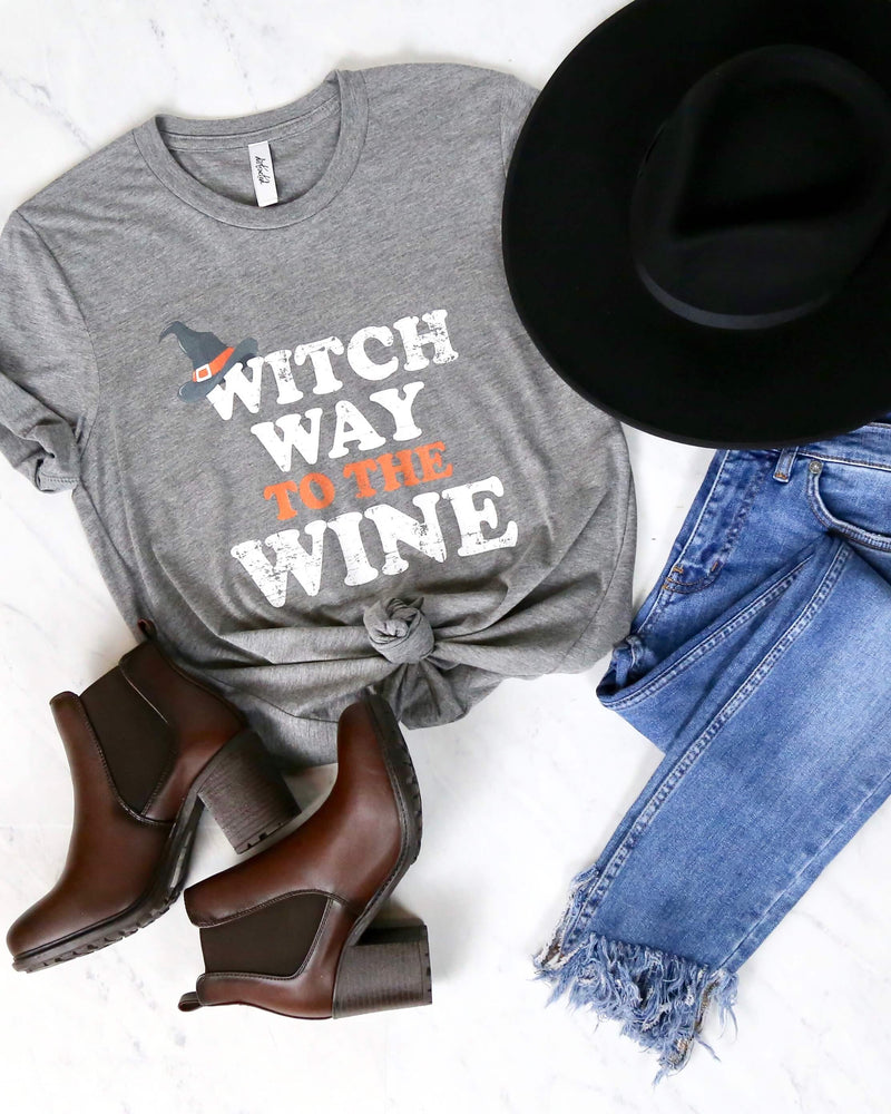 Distracted - Witch Way to the Wino Halloween Graphic Tee - Heather Grey