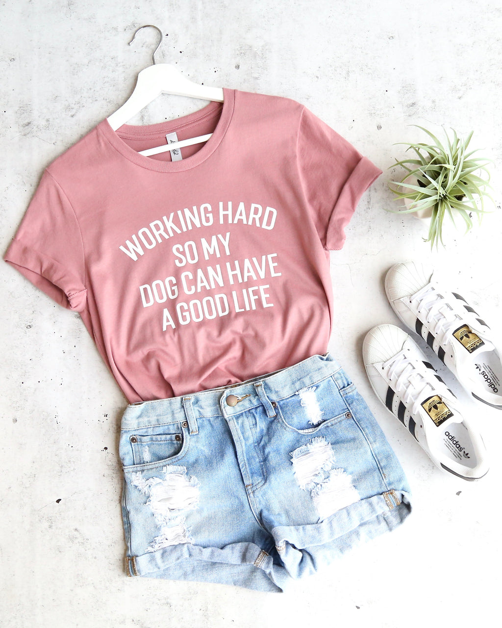 distracted - working hard so my dog can have a good life unisex graphic tee - mauve