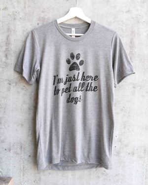Distracted - I'm Just Here to Pet All the Dogs Unisex Graphic Tee in Heather Grey