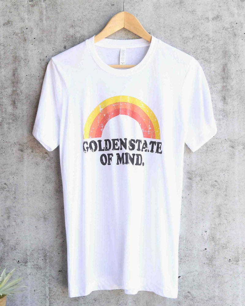 Distracted - Golden State of Mind Unisex Graphic Tee in White