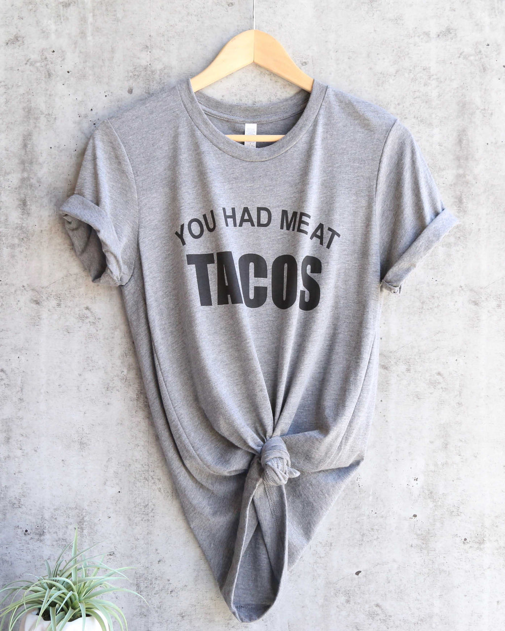 Distracted - You Had Me At Tacos Unisex Triblend Graphic Tee in Grey/Black