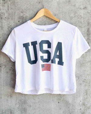 distracted - USA cropped top graphic tee - white