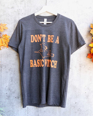 distracted - don't be a basic witch halloween graphic tee - dark heather charcoal grey