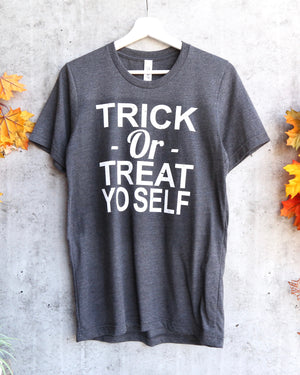 Distracted - Trick or Treat Yo Self Halloween Graphic Tee in Dark Heather Charcoal Grey