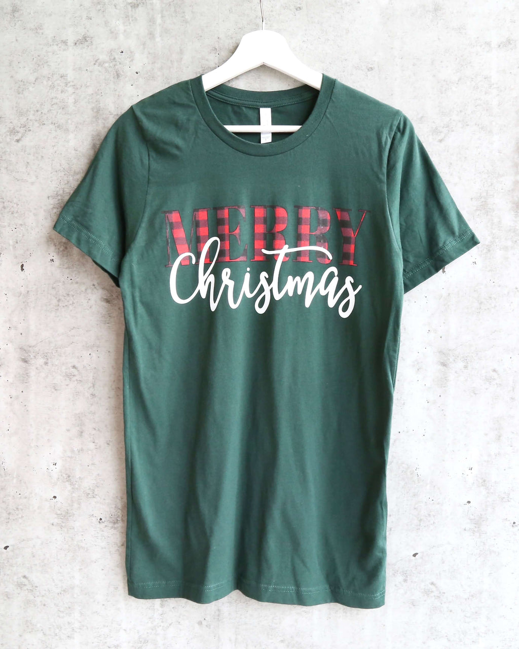 distracted - merry christmas unisex graphic tee - forest green