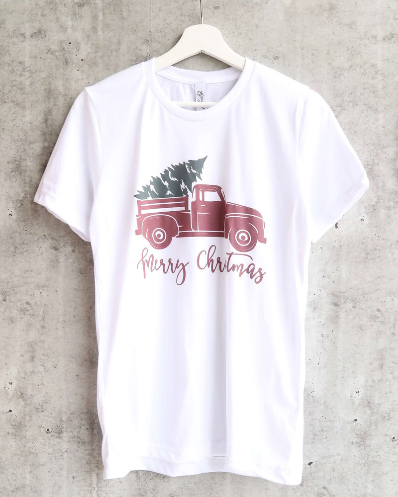 Distracted - Merry Christmas with Vintage Truck Unisex Graphic Tee in White