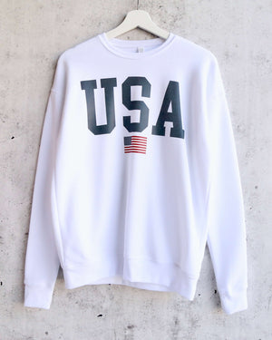 Distracted - USA Graphic Unisex Sponge Fleece Drop Shoulder Pullover Sweatshirt - white