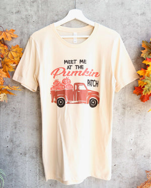Distracted - Meet Me At The Pumpkin Patch Unisex Graphic Tee in Soft Cream