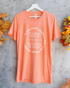 distracted - pumpkin spice is my favorite season unisex graphic tee - heather orange