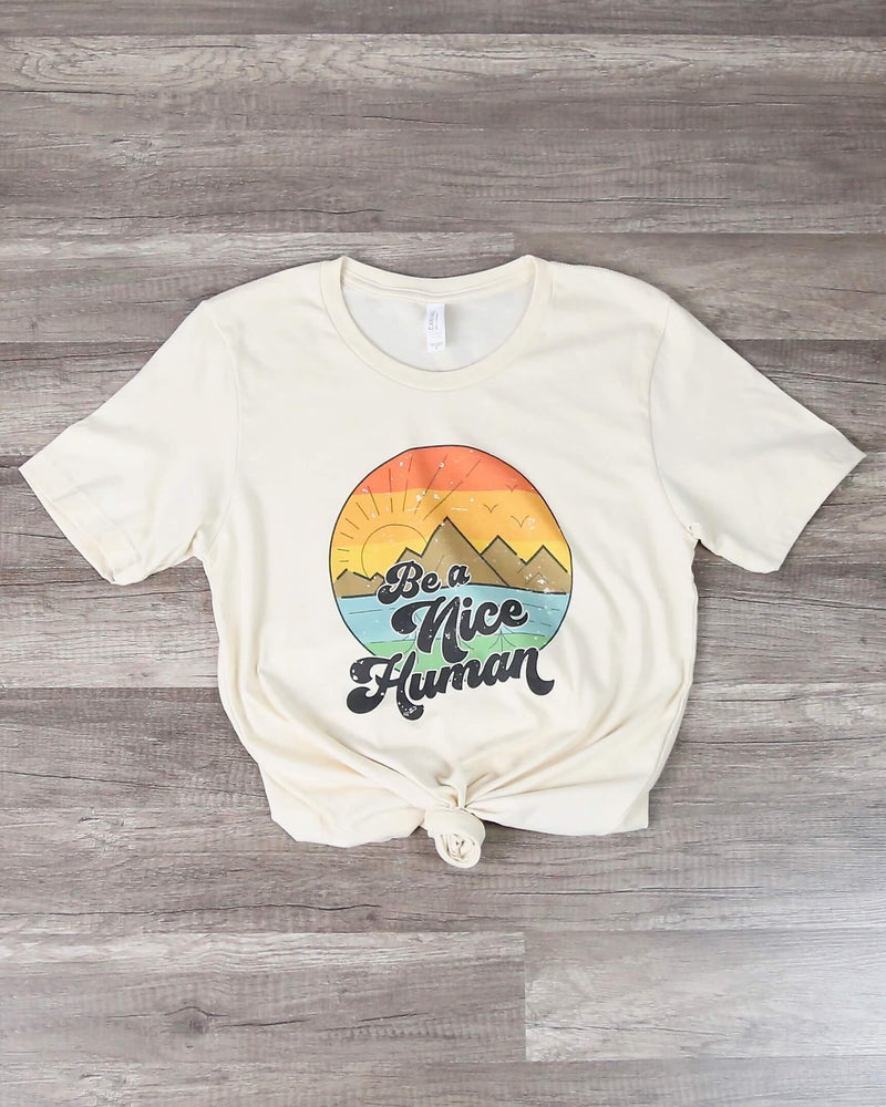 Distracted - Be a Nice Human Graphic Tee in Cream