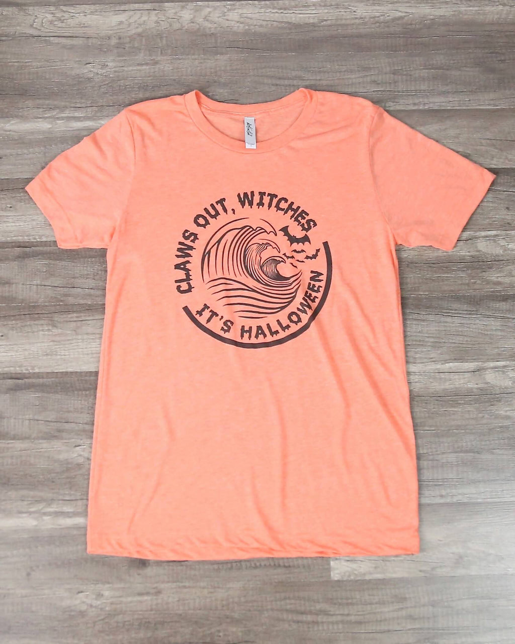Distracted - Claws Out Witches, It's Halloween Graphic Tee in Heather Orange