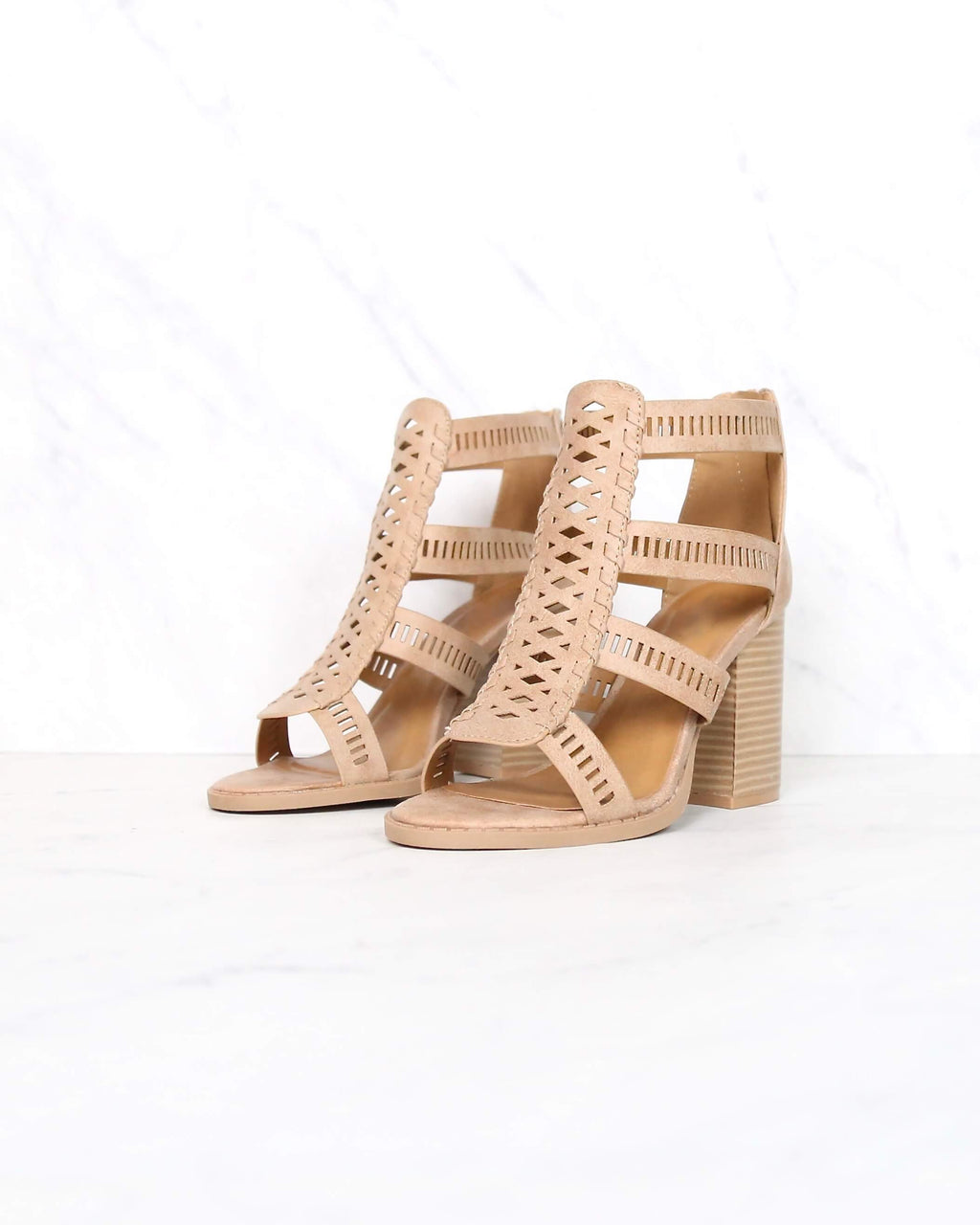 distressed leatherette perforated strappy peep toe heeled sandal in tan