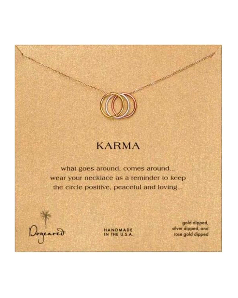 Dogeared - Triple Karma Ring Sparkle Chain Necklace 18""