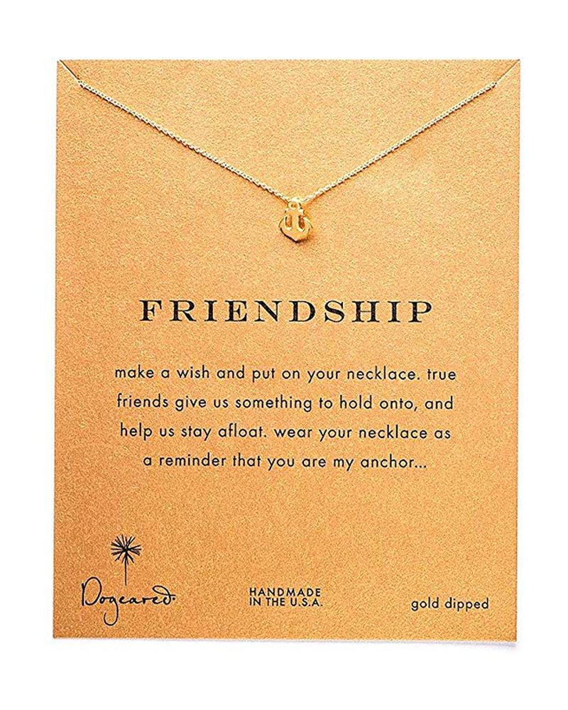 Dogeared - Reminder Smooth Anchor Friendship Necklace in Gold Dipped