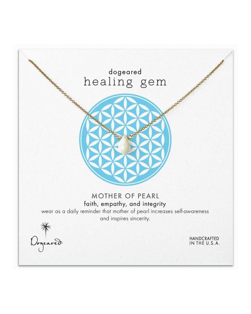 Dogeared - Healing Gem Mother of Pearl Necklace in Gold Dipped