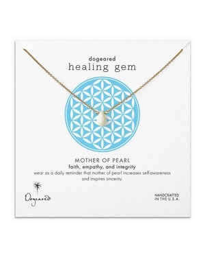 dogeared healing gem mother of pearl necklace, gold dipped